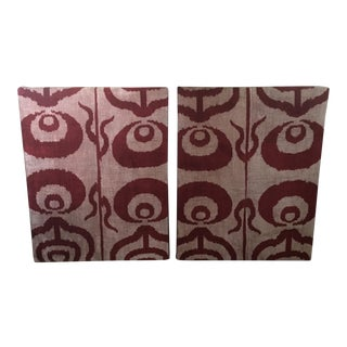 Silk Velvet Ikat Ottoman Fabric Wall Art Hangings - A Pair