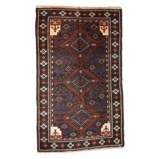 "1970s Vintage Handmade Afghan Baluch Rug - 3'7"" X 6'1"""