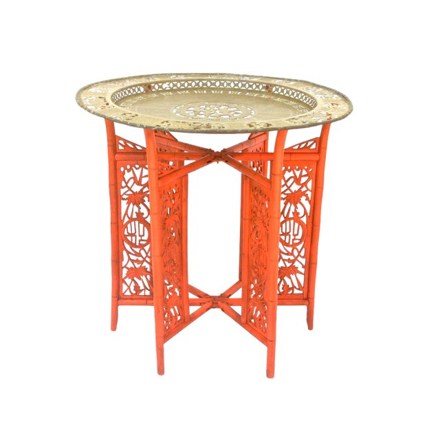 Chinese Brass Tray on Orange Stand - Image 1 of 8
