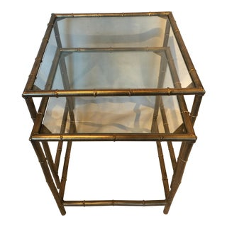 Metal Bamboo Nesting Tables - Pair