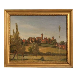 "Original ""Village of Picardy"" Oil on Board Painting"