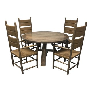 Gregorious Pineo Round Dining Table and Rush Chairs