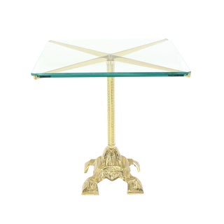 Cast Brass Base and Glass-Top Side Table