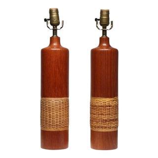 Mid-Century Raffia & Wood Table Lamps, Circa 1960s- A Pair