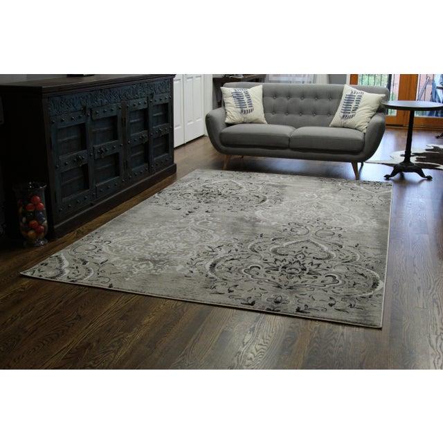 "Damask Gray & White Rug- 8' x 10'7"" - Image 6 of 7"