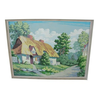 "Vintage Paint by Numbers Painting ""Thatched Roof Cottage"""