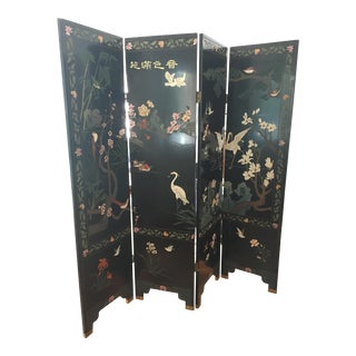 Vintage Black Asian Lacquer Coromandel 4 Panel Screen