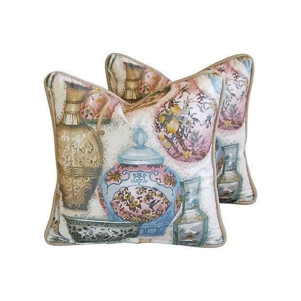 Custom Chinoiserie Vase Pillows - Pair - Image 1 of 7