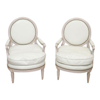 Louis Style Faux Leather Chairs - a Pair