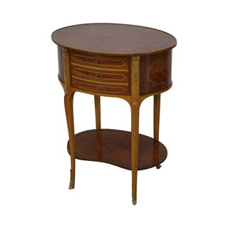 French Louis XV Style Inlaid Oval Side Table