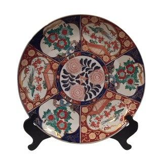 Oversized Vintage Chinoisoire Hand-Painted Imari Porcelain Charger