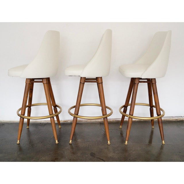 Mid-Century Hollywood Regency Bar Stools - Set of 3 - Image 4 of 11