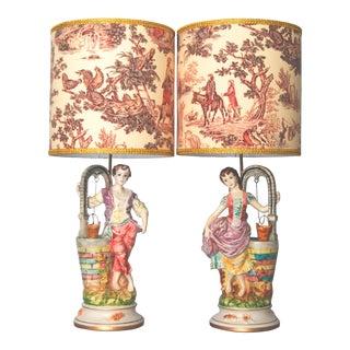 "Porcelain Figural Lamps ""Capodimonte-Style"" - A Pair"