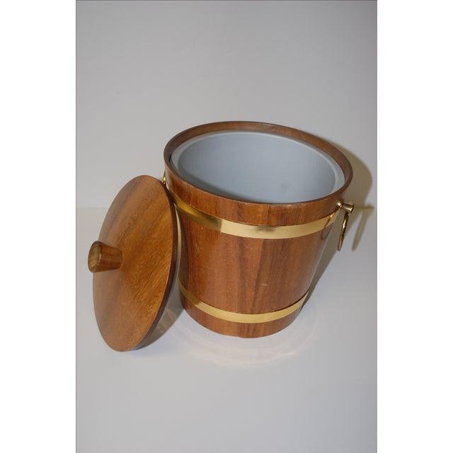 Image of Vintage 1950s Aluminum Lined Teak Ice Bucket