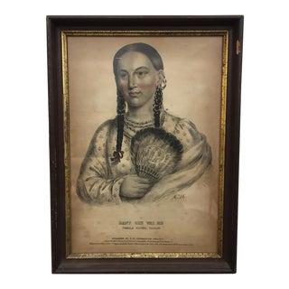 Antique Indian Print in Wood & Gold Trimmed Frame