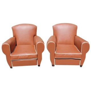 Beautiful 1940s Vintage French Art Deco Club Chairs - A Pair