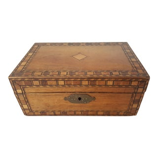 Antique Marquetry Box with Original Key