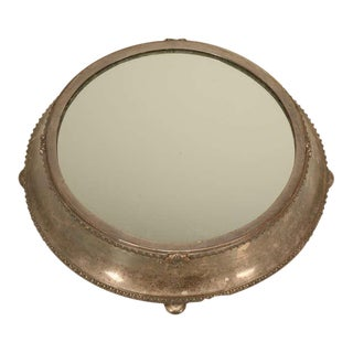 Large Antique English Silver Plated Mirror Plateau by Fenton Bros. Ltd