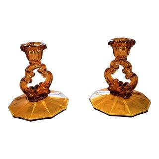 1940's Dark Amber Crystal Glass Candleholders - A Pair