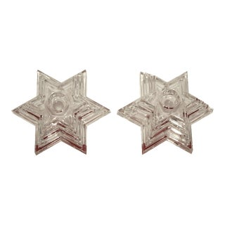 German Lead Crystal Tiered Candle Holders - A Pair