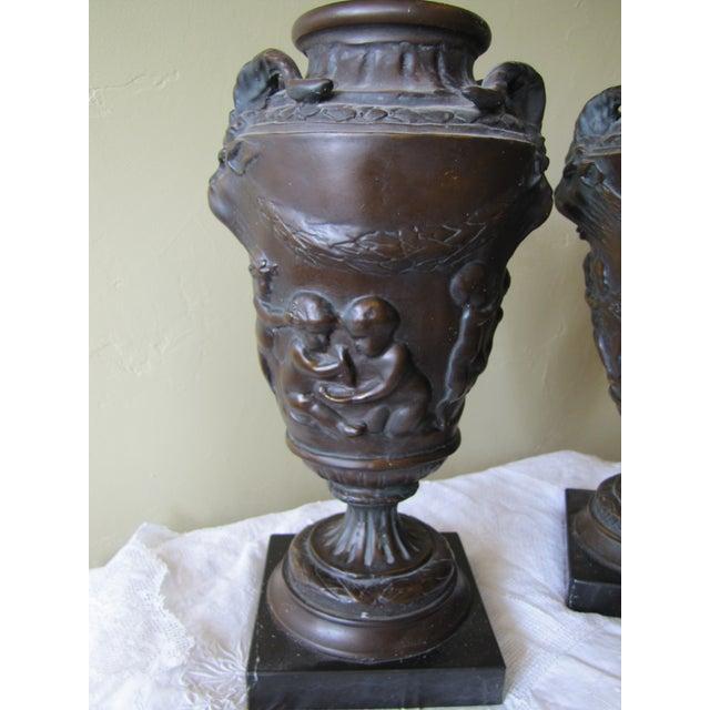 Image of Vintage Bronze Urns - A Pair