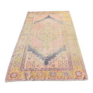 Antique Turkish Tribal Hand-Knotted Muted Yellow Anatolian Rug - 4′ × 6′9″