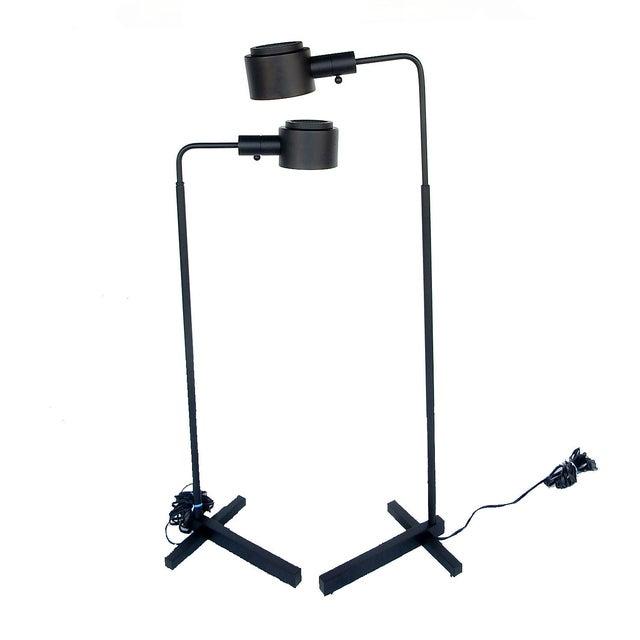 Image of Original Casella Black Floor Lamps - Pair