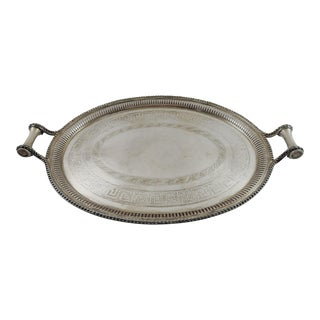 James Dixon & Sons Beaded-Edge Silver-Plated Serving Tray