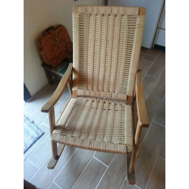 Hans Wegner Style Rope Rocking Chair Chairish