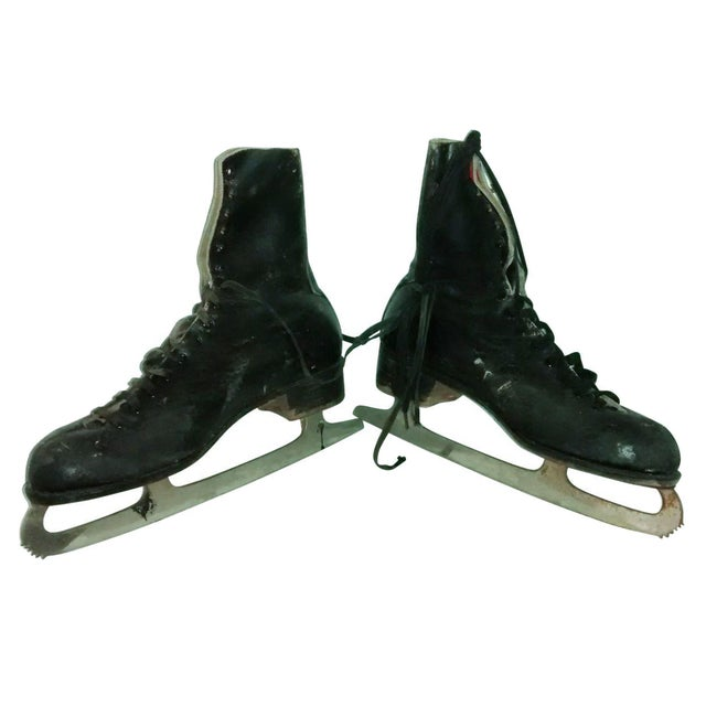 Vintage 1950 Men's Ice Skates Holiday Decor - A Pair - Image 1 of 7