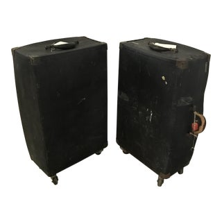 Vintage Black Trunks on Rollers- A Pair