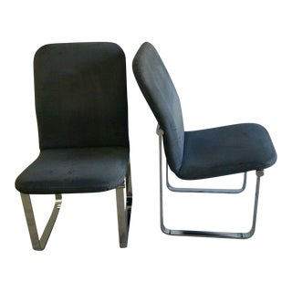 Milo Baughman for Design Institute of America Chrome & Fabric Dining Chairs - A Pair