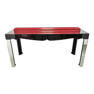 Beveled Black Mirror Hall Table With Silver Legs