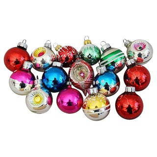 Mid-Century Colorful Christmas Ornaments w/Box - Set of 15