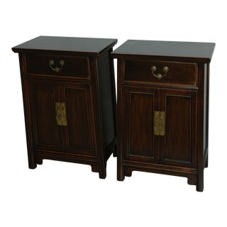Natural Ming Bedside Tables - Pair
