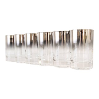 Mid Century Dorothy Thorpe Ombre Silver Fade Shot Glasses - Set Of 6