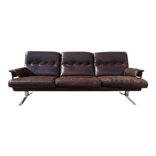 Arne Norell Hand Stitched Leather & Chrome Sofa