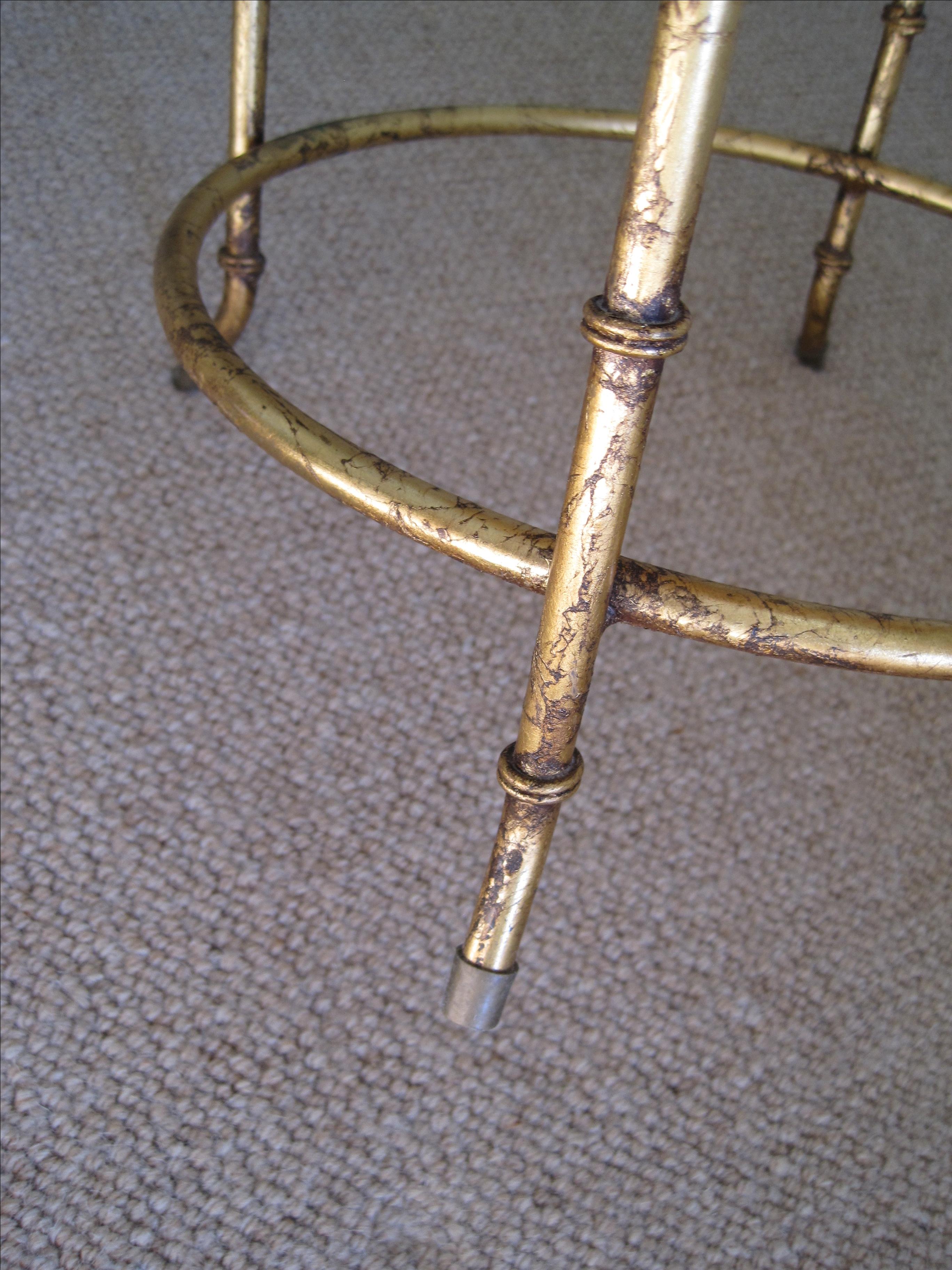 Gilded Metal Faux Bamboo Vanity Stool Chairish