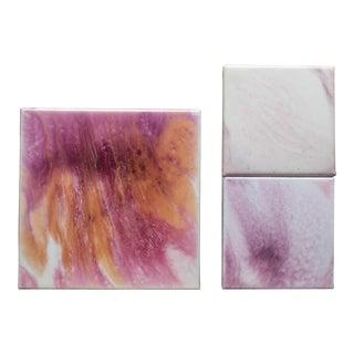 'Pink Sunburst' Paintings - Set of 3