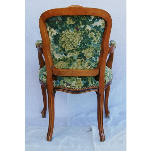 Scalamandre Marly Velvet Tapestry Fabric Walnut Armchair - Image 11 of 11
