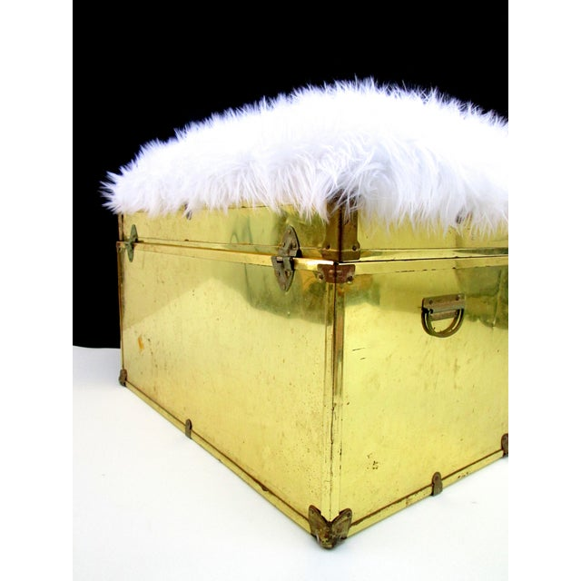 Vintage Brass Amp Faux Fur Trunk Bench Storage Ottoman