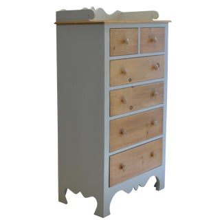 Blue-Grey & Natural Pine Tallboy Dresser