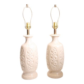 Mid Century Modern White Ceramic Table Lamps - A Pair
