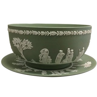 1969 Vintage Wedgwood Green Bowl & Plate