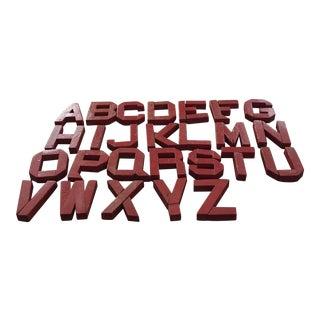 Vintage Red Wooden Alphabet Letters - 26 Pieces