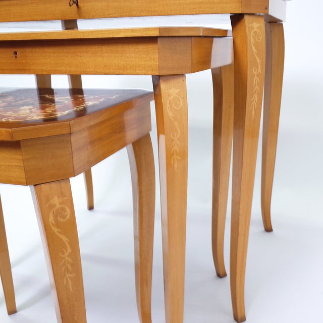 Italian Marquetry Inlay Music Box Nesting Tables - Image 4 of 8