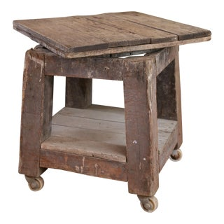 ANTIQUE FRENCH POTTER'S WOODEN CART ON CASTERS