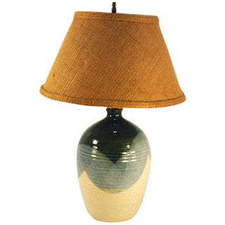 Mid-Century Blue & Tan Pottery Lamp