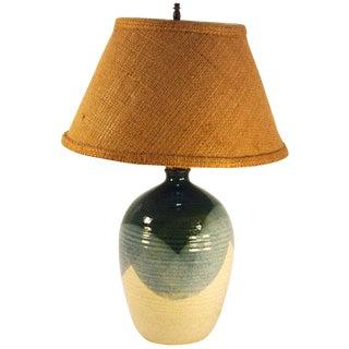 Mid-Century Blue & Tan Pottery Lamp