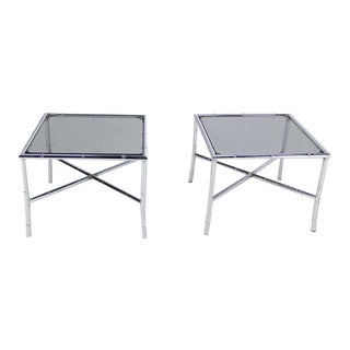 Pair of Chrome Faux Bamboo X-Base End Tables with Smoked Glass Tops